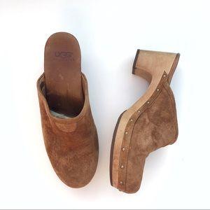 UGG suede clog heels